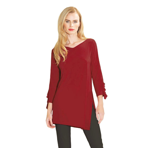 Clara Sunwoo Ruffle Cuff Angle Hem Tunic in Merlot - TU824-MRL - Sizes S & L Only