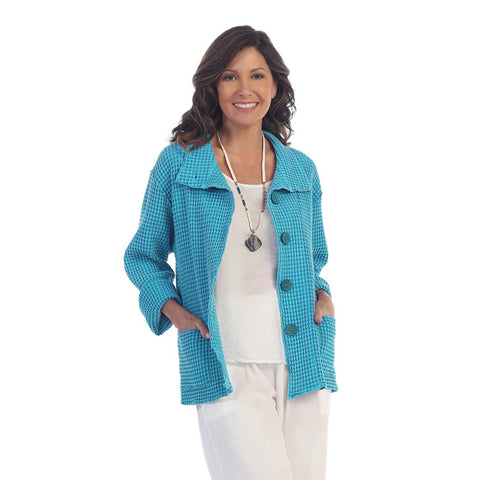 Focus Fashion Waffle-Pattern Cotton Jacket in Turquoise - C602-TUR