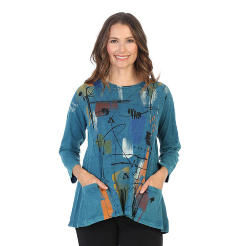 "Jess & Jane ""Whitney"" Abstract Mineral Washed Tunic Top in Cypress - M12-1433"