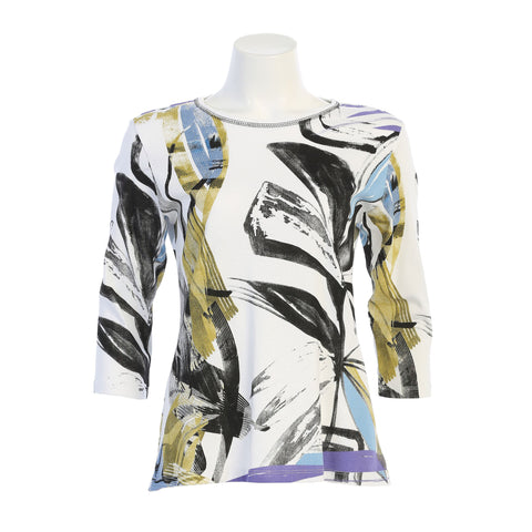"Jess & Jane ""Modelia"" Abstract Print Top in Multicolor - 14-1468WT"