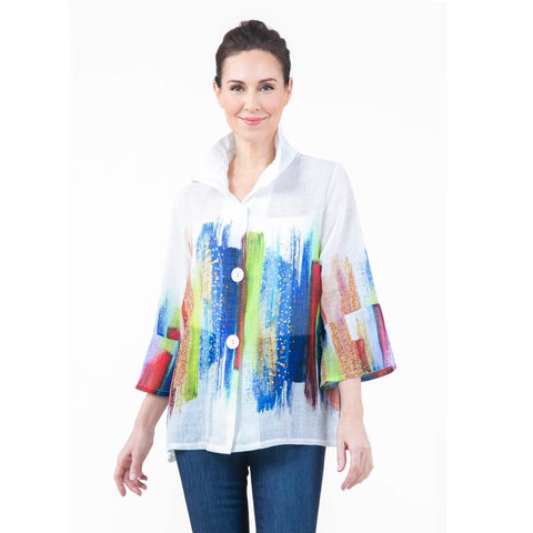 Damee Brushstroke-Print Button Front Jacket - 4606-WHT - Size XXL Only