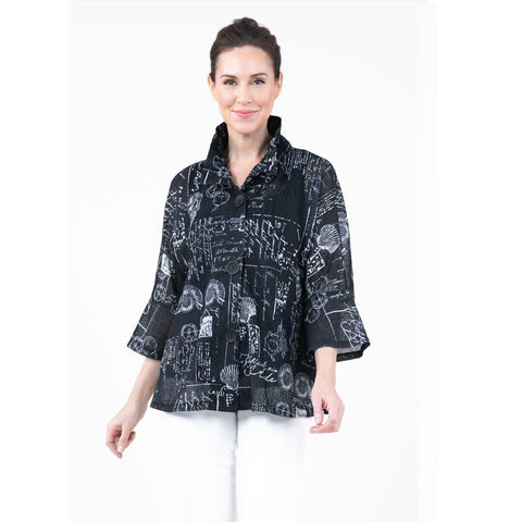 Damee Seashell Print Semi-Sheer Button Front Jacket in Black/White - 4630-BLK