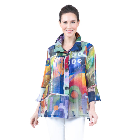 Damee Watercolor Abstract-Print Button Front Jacket in Multi - 4607-MLT