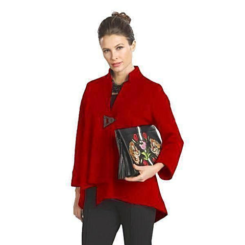 IC Collection Solid Asymmetric Jacket in Red - 9191J-RED