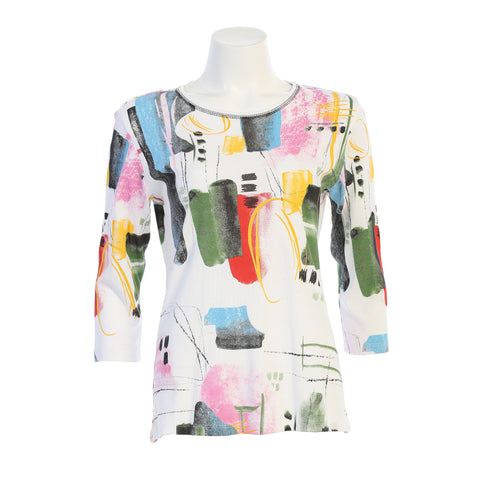 "Jess & Jane ""Dreaming"" Abstract Print Top in White/Multi - 14-1480WT"