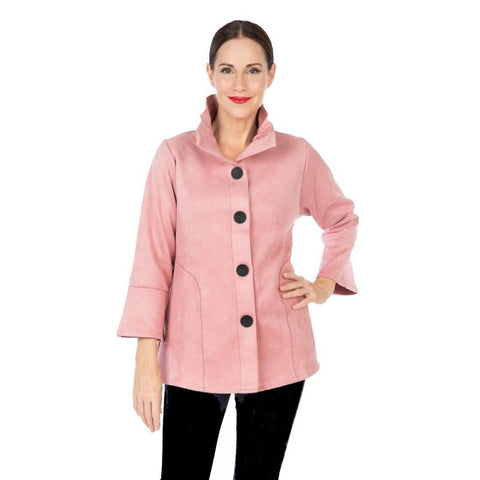 Damee Faux Suede Button Front Jacket in Pink - 4580-PNK - Size L Only