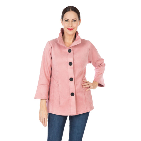 Damee NYC Faux Suede Button Front Jacket in Pink - 4580-PNK