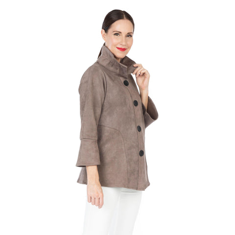 Damee Faux Suede Button Front Jacket in Taupe - 4580-TPE