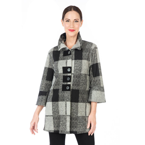 Damee NY Checkered Button Front Jacket in Grey/Multi - 4574-GRY