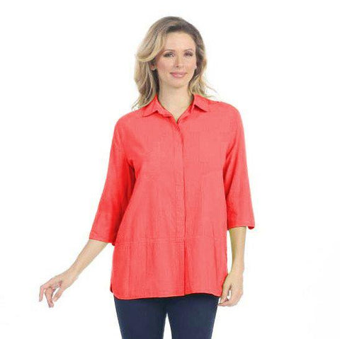 Focus Lightweight Cotton Shirt in Coral V-303CRL