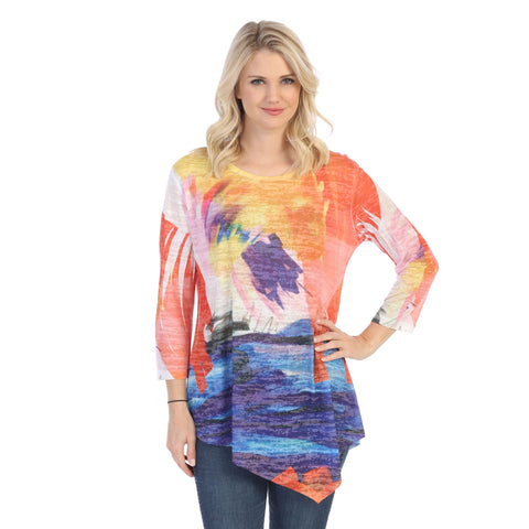 "Jess & Jane ""Monet"" Impressionist Art Print Burnout Tunic in Multicolor - 42-1471"