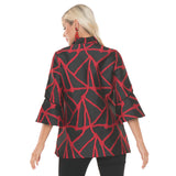 Lior Jacquard Bell Sleeve Jacket in Black/Red - Valentina-19-RD