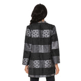 Lior Jacquard Long Open Front Jacket in Grey/Black - VIDA-GRY - Size S Only