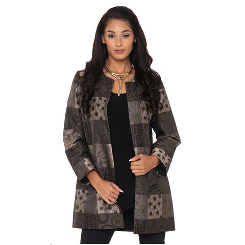 Lior Jacquard Long Open Front Jacket in Taupe/Black - VIDA-TP - Size  L Only