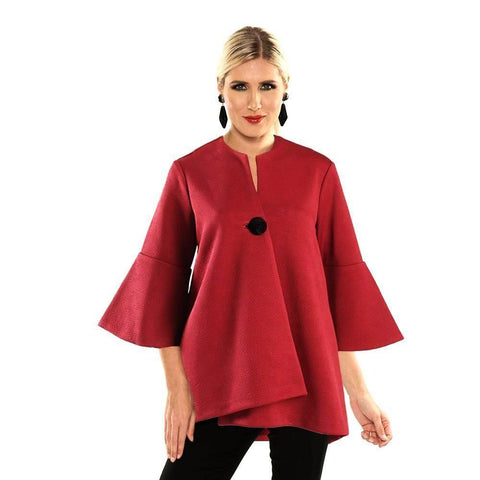 Lior Textured High-Low Swing Jacket in Red - Vince-116-RD