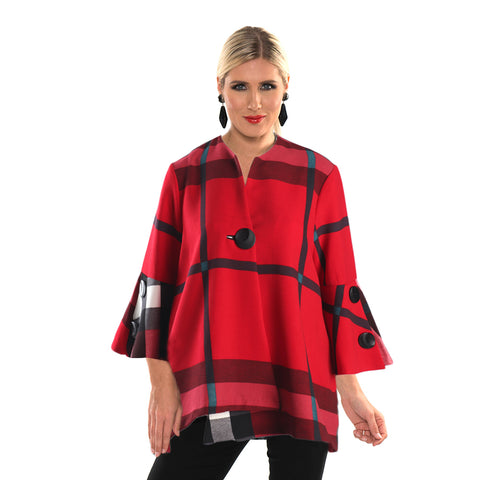 Lior Textured Plaid High-Low Swing Jacket in Red/Black - Vince-119
