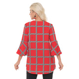 Lior Textured Geometric High-Low Swing Jacket in Red/Black - Vince-14A