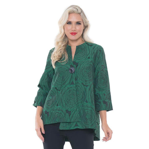 Lior Jacquard Asymmetric Jacket in Green - Vini-63-GRN