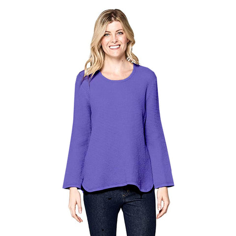 Focus Waffle Long Sleeve Cotton Top in Violet - C691-VIO