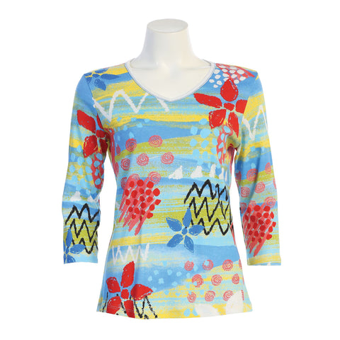 "Jess & Jane ""Bali"" Abstract Print V-Neck Top in Multi - 15-1364WT"