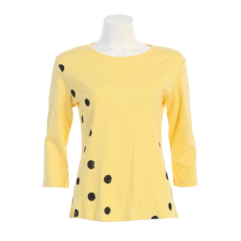 "Jess & Jane ""Coco Dots"" Polka Dot Print Top in Lemon - 14-1322LM"