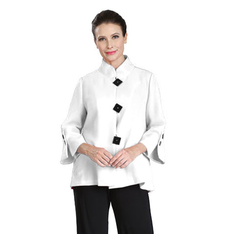 IC Collection High-Low Bell Sleeve Jacket in White - 2142J-WT