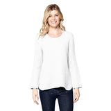 Focus Waffle Long Sleeve Cotton Top in White - C691-WHT - Sizes M & L Only