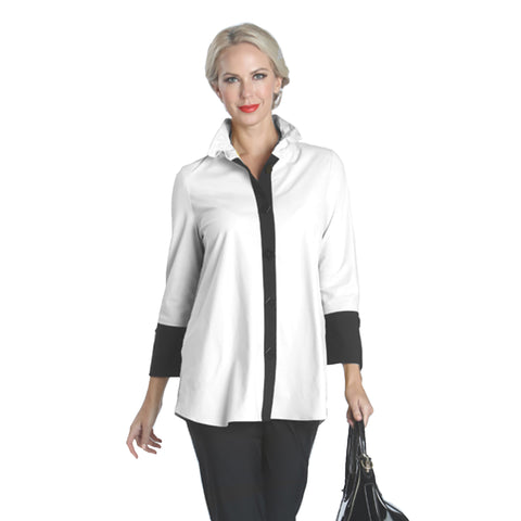 IC Collection Pleat Back Shirt in White & Black - 1268B- WHT