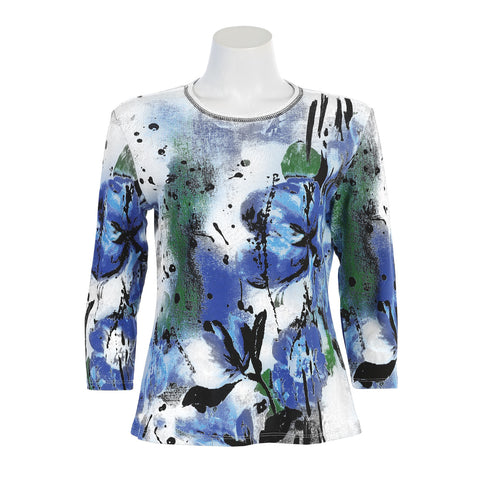 "Jess & Jane ""Midnight"" Floral Print Top in White/Multi - 14-1129WT - Size 1X and 3X Only"