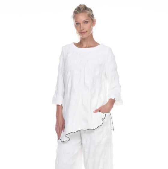 Moonlight Textured Tunic in White - 3060-WT