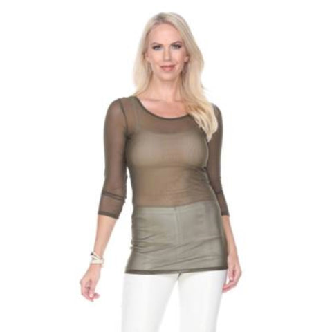 "Mesmerize ""X-Ray"" Mesh Top in Brown - X-Ray-Brn"