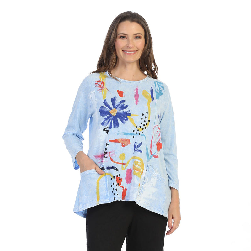 "Jess & Jane ""Lulu"" Floral Print Mineral Washed Patch Pocket Tunic Top - M12-1487"