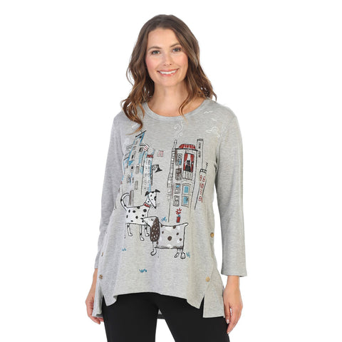 "Jess & Jane ""City Pups"" Soft French Terry Tunic Top in Gray/Multi - BT3-1436"