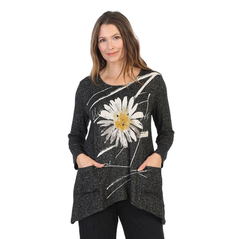"Jess & Jane ""Chit Chat"" Daisy Print Sweater Knit Top - GB3-1387 - Size 3X Only"
