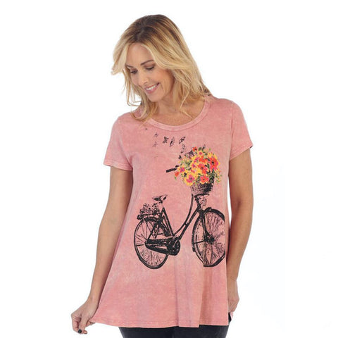 "Jess & Jane ""Bike Ride"" Mineral Washed Tunic Top in Berry - M30-1056"