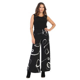 "Jess & Jane ""Olivia"" Abstract Print Soft Stretch Knit Palazzo Pant in Black/White - Y3-1421"