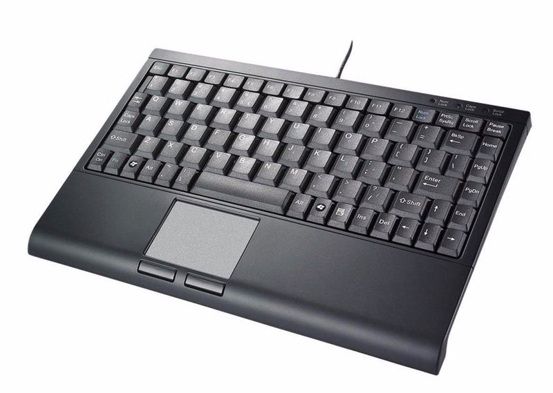 SolidTek Compact Mini-Keyboard w/ Touchpad, Backlit, USB, Black