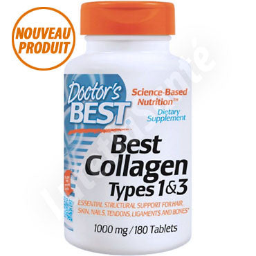 Collagène pur 1000 mg pour la peau - 180 tablettes de Doctor's Best