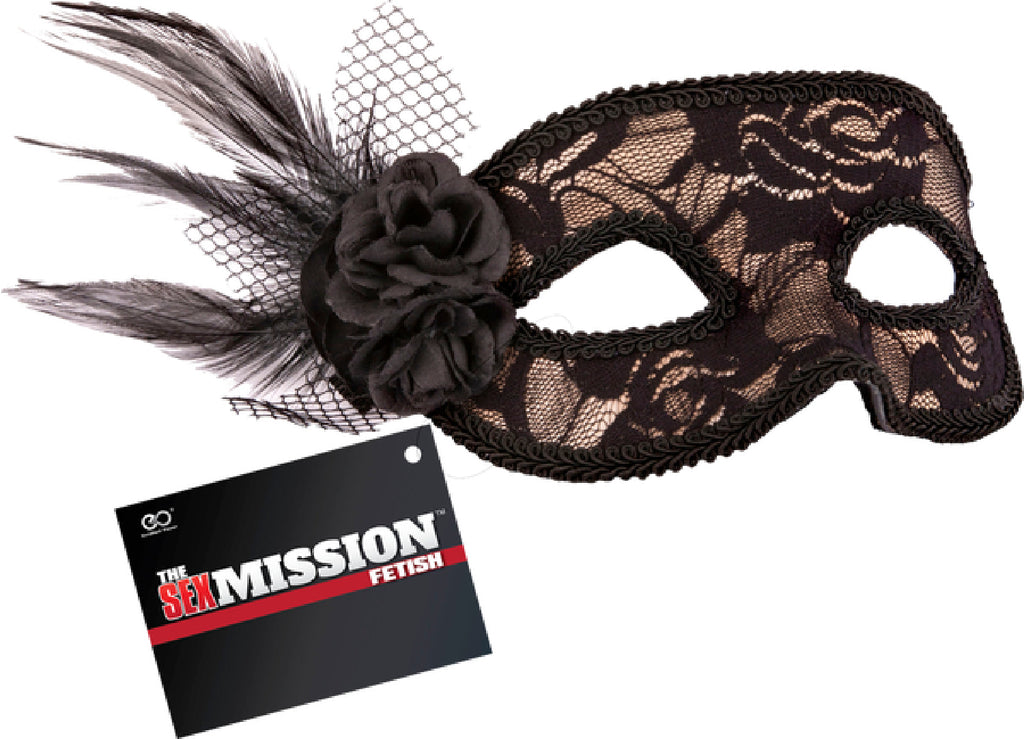 Feathered Lace Masquerade Masks (Black)