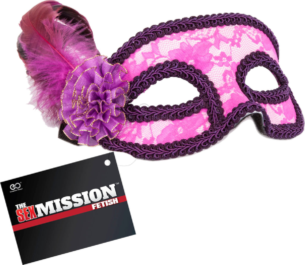 Feathered Masquerade Masks (Pink & Purple)