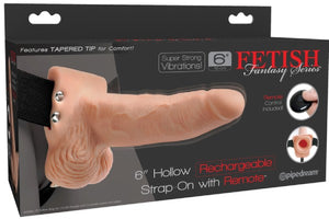 "6"" Hollow Rechargeable Strap-On Remote (Flesh)"