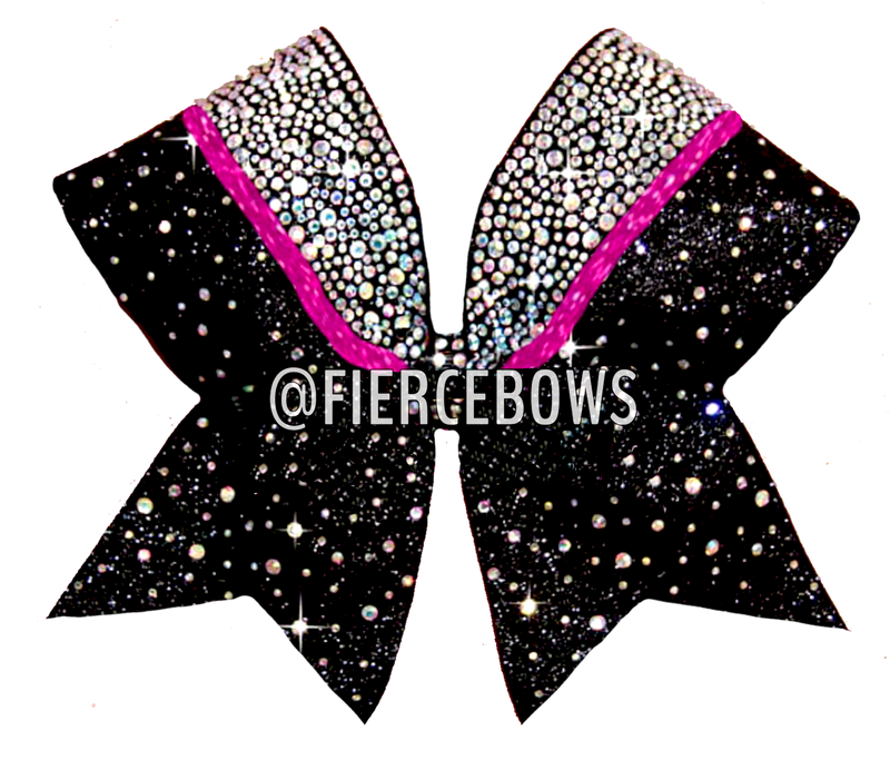 Two Color Starry Sky Rhinestone Cheer Bow