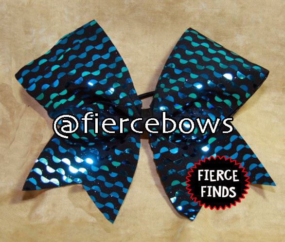 Blue and Black Metallic Circles Cheer Bow