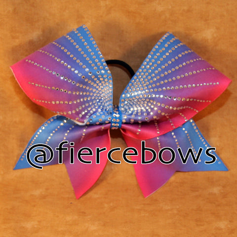 Blue to Pink Ombre Starburst Rhinestone Cheer Bow