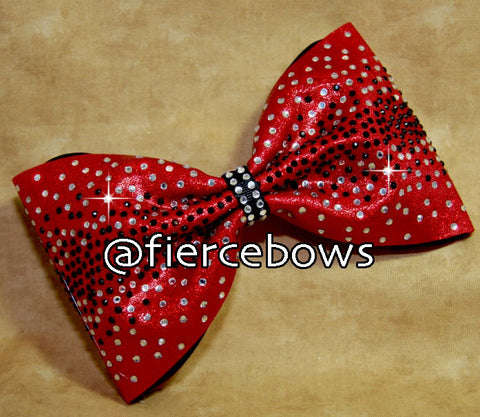 Candy Apple Two Color Rhinestone Bow