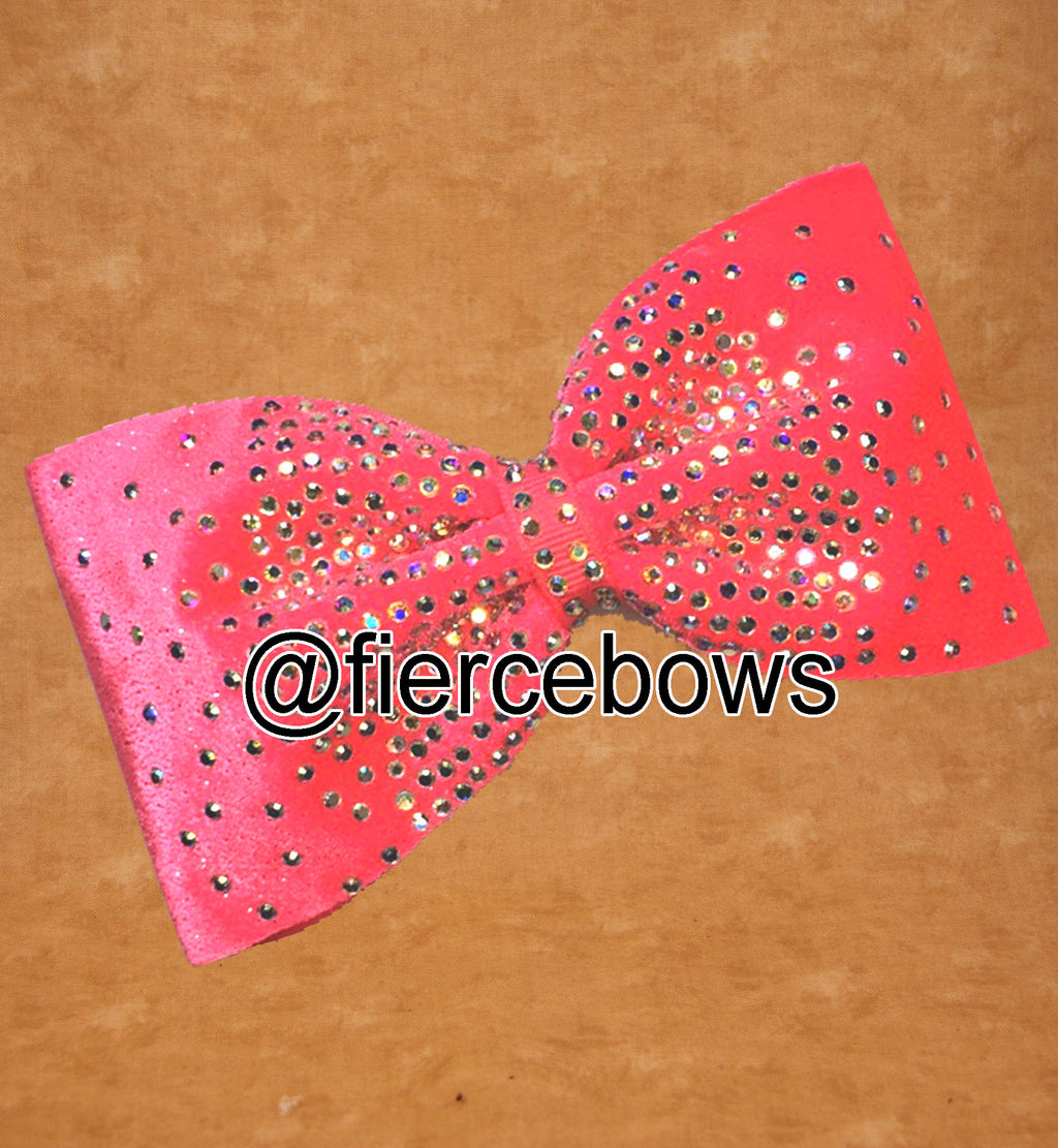 Coral Beauty Rhinestone Tailless Bow