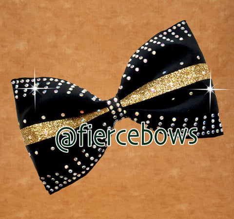 Golden Glow Glitter and Rhinestone Tailless Bow