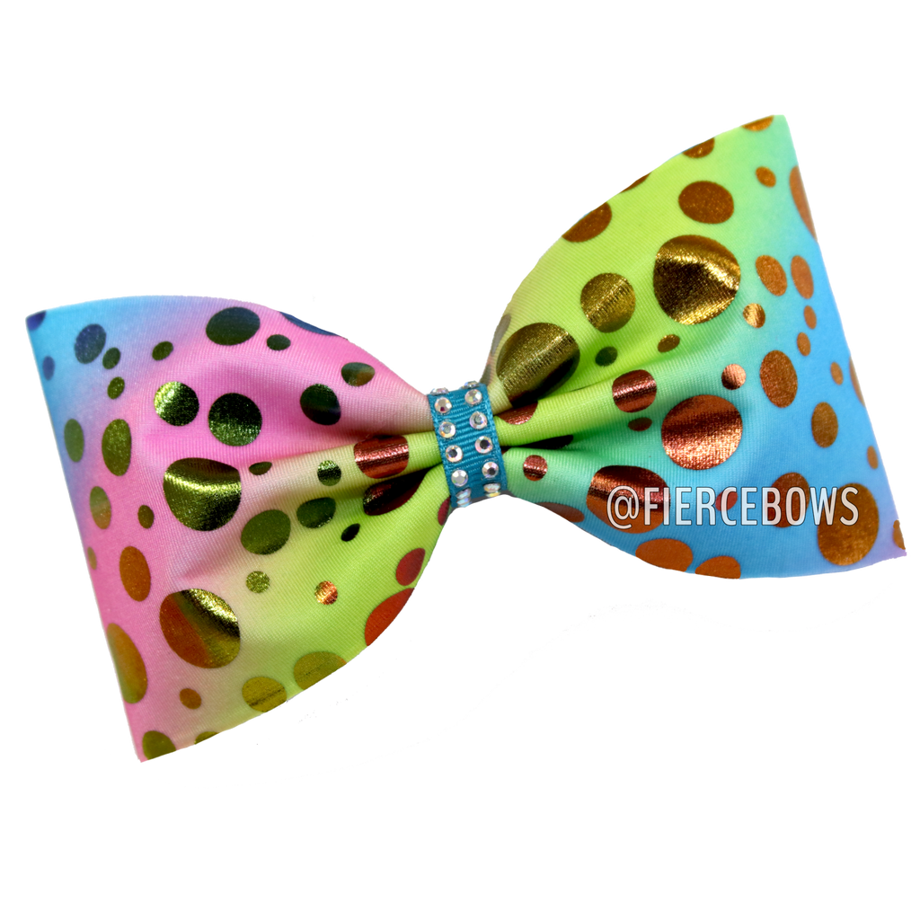 Rainbow Pastel Polka Dot Tailless Bow