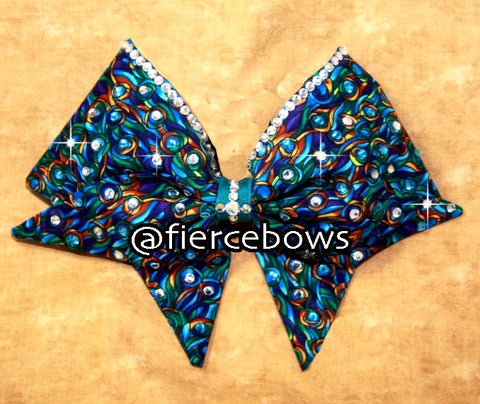 Peacock Feathers Hand Sewn Rhinestone Bow