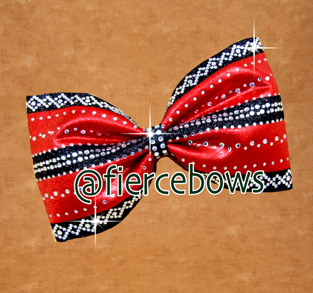 Red and Black (or whatever you choose) Rhinestone Tailless Bow